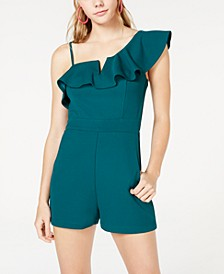 Juniors' Ruffled One-Shoulder Romper