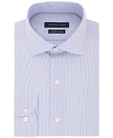 Tommy Hilfiger Men's Classic/Regular Fit Non-Iron THFlex Supima® Stretch Stripe Dress Shirt