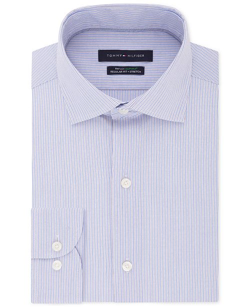 Tommy Hilfiger Men's Classic/Regular Fit Non-Iron THFlex Supima® Stretch Stripe Dress Shirt
