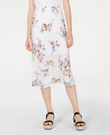 Material Girl Juniors' Printed Textured Midi Skirt, Created for Macy's