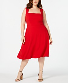 Love Squared Trendy Plus Size Square-Neck Fit & Flare Dress