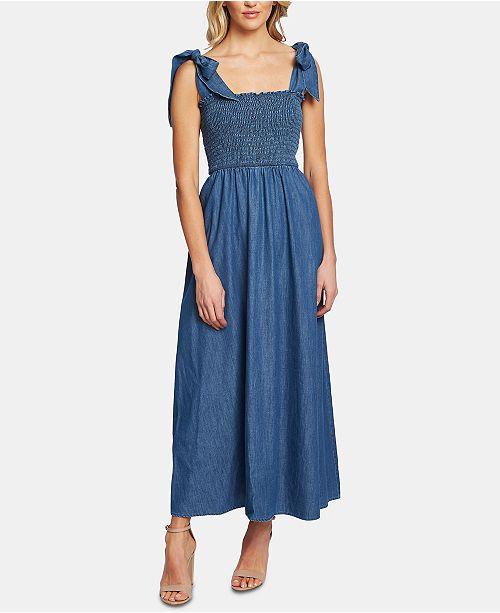 CeCe Cotton Smocked Denim Maxi Dress