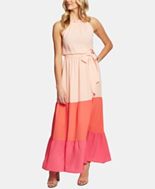 CeCe Ruffled Colorblocked Maxi Dress