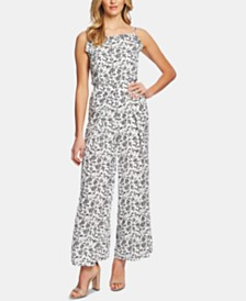 CeCe Printed Ruffled Jumpsuit