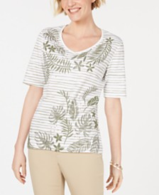 Karen Scott Cotton Graphic Embellished Top, Created for Macy's
