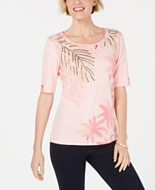 Karen Scott Embellished Graphic Top, Created for Macy's