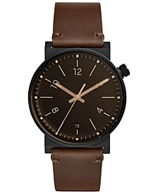 Men's Barstow Brown Leather Strap Watch 42mm