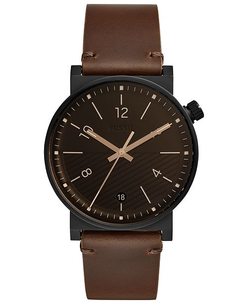Fossil Men's Barstow Brown Leather Strap Watch 42mm