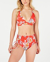 a7a064266f2a1 Raisins Juniors' Maya Bay Miami Halter Top & Smocked High-Waist Side-Lace
