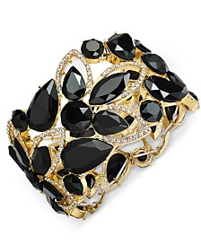 I.N.C. Gold-Tone Stone & Crystal Openwork Stretch Bracelet, Created for Macy's
