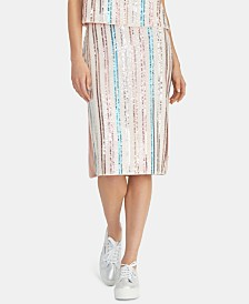 RACHEL Rachel Roy Salim Sequin-Striped Midi Skirt