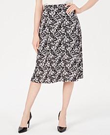 Sunburst-Print A-Line Skirt