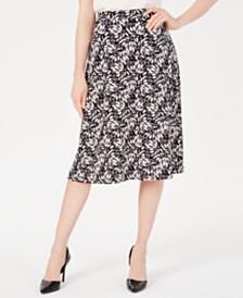 Kasper Sunburst-Print A-Line Skirt