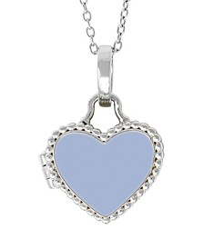 Olivia Blue Enamel Photo Locket Necklace in Sterling Silver (Also Available in Pink Enamel)