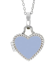 With You Lockets Olivia Blue Enamel Photo Locket Necklace in Sterling Silver (Also Available in Pink Enamel)