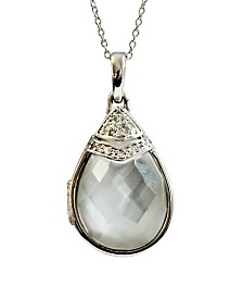 With You Lockets Ella Black Mother of Pearl and White Topaz (3/8 ct. t.w.) Photo Locket Necklace in Sterling Silver (Also Available in Quartz Doublet White Mother-Of-Pearl)