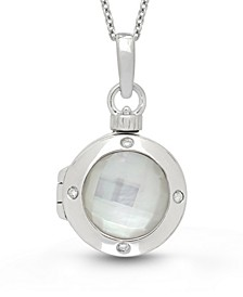Shelly Mother of Pearl (14mm) and Diamond Accent Photo Locket Necklace in Sterling Silver