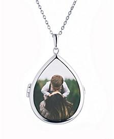 Sky Glass Teardrop Shape Photo Locket Necklace in Sterling Silver