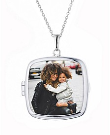 Katie Square Glass Photo Locket Necklace in Sterling Silver