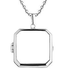 Billie Glass Square Photo Locket Necklace in Sterling Silver