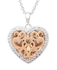 Mary White Topaz (1/5 ct. t.w.) Photo Heart Shaped Locket Necklace in 14k Rose Gold over Sterling Silver