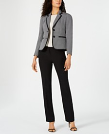 Le Suit Two-Button Plaid & Solid Pantsuit