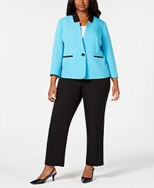 Plus Size Contrast Single-Button Suit