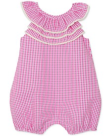 Baby Girls Gingham Triple Ruffle Romper