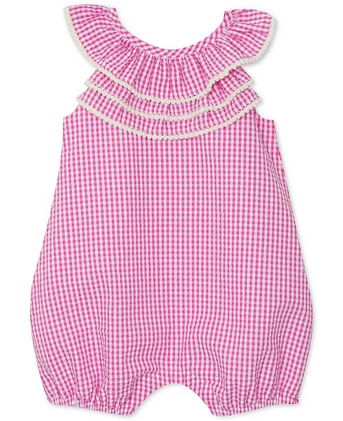 Rare Editions Baby Girls Gingham Triple Ruffle Romper