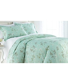 Forget Me Not Cotton Reversible 3 Piece Duvet Cover and Sham Set, King