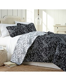 Lightweight Reversible Floral Quilt and Sham Set