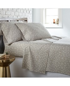 Southshore Fine Linens Geometric Maze 4 Piece Printed Sheet Set, Queen