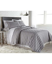 Oversized Brickyard Embroidered Quilt and Sham Set, Full/Queen