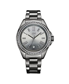 JBW Women's Capri Diamond (1/8 ct.t.w.) Gun Metal-Plated Stainless Steel Watch