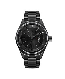 JBW Men's Rook Diamond (1/8 ct.t.w.) Black Ion-Plated Stainless Steel Watch