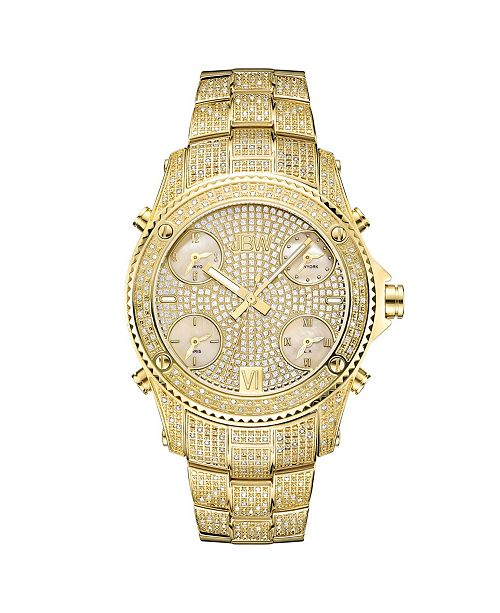 Jbw Men's Jet Setter Diamond (2 ct.t.w.) 18k Gold Plated Stainless Steel Watch