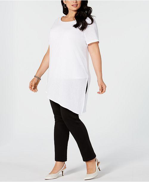 Alfani Plus Size Asymmetric Tunic Top, Created for Macy's