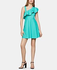 Asymmetrical-Neck Fit & Flare Dress