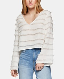 BCBGeneration Fringed Striped Jacquard Top