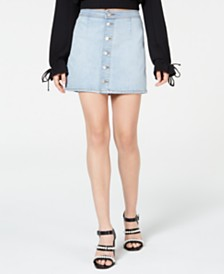 Tinseltown Juniors' Button-Down Denim Mini Skirt