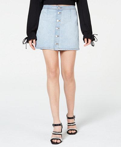 Tinseltown Juniors' Button-Down Denim Mini Skirt