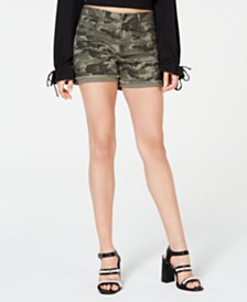 Vanilla Star Juniors' Camo-Print Cuffed Jean Shorts