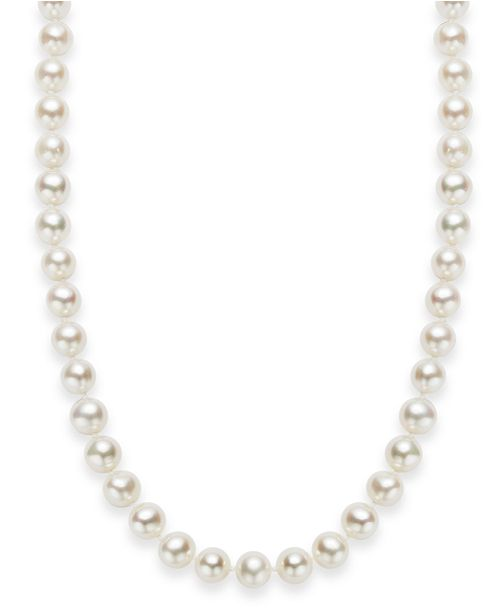 "Macy's 18"" Cultured Freshwater Pearl Strand Necklace (7-8mm) in Sterling Silver"