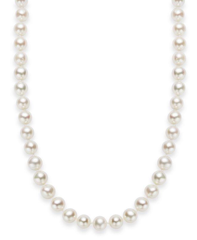 """Macy's 18"""" Cultured Freshwater Pearl Strand Necklace (7-8mm) in Sterling Silver"""
