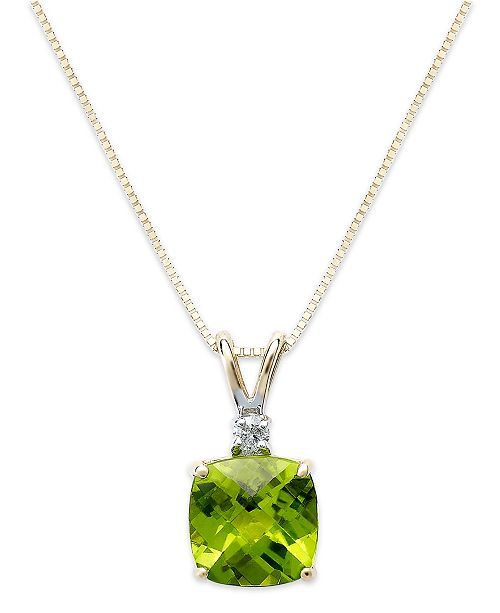 Macy's 14k Gold Necklace, Peridot (1-5/8 ct. t.w.) and Diamond Accent Cushion Pendant