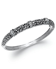 Diamond Antique Bangle Bracelet in Sterling Silver (1/4 ct. t.w.)