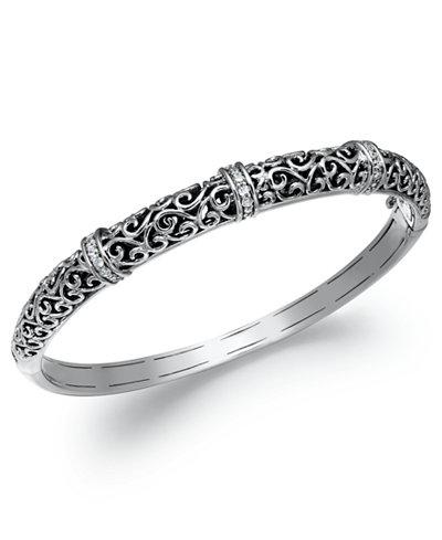 Diamond Antique Bangle Bracelet in Sterling Silver (1/4 ct. t.w.)