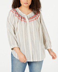 Lucky Brand Plus Size Smocked Embroidered Blouse