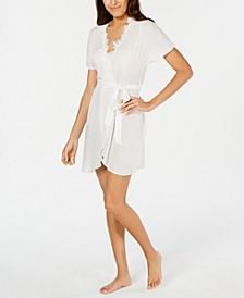 Lace Neckline Clip Dot Wrap Robe