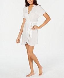 Linea Donatella Lace Neckline Clip Dot Wrap Robe